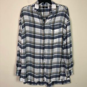 BDG Plaid Long Flannel Button Up Blue Shirt Small